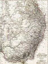 🎄🕯 143 Jahre alte Landkarte Süd Ost AUSTRALIEN Brisbane Melbourne Sidney 1875