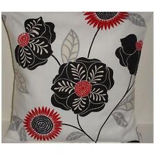 "NEW 16"" Designer Cushion Cover Retro Black and Red Ivory Cream Cavendish Flowers"