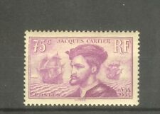 "FRANCE STAMP TIMBRE N° 296 "" JACQUES CARTIER AU CANADA 75c LILAS "" NEUF xx TTB"
