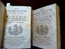 PIETRO CHIARI : LA COMMEDIANTE IN FORTUNA - 1755 NAPOLI 2 voll. prima edizione