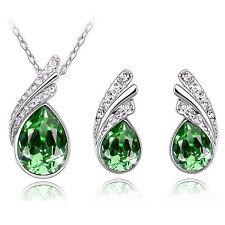 stile Set Gioielli verde intenso CRISTALLO ALI Orecchini & COLLANA S290