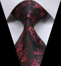 Mens Tie Rose Red Black Floral Paisley Silk 613