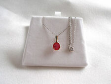 1.50 Ct. Ruby Solitaire  10k White Gold Pendant & Necklace