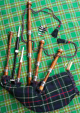 SCOTTISH GREAT HIGHLAND BAGPIPE SHEESHAM WOOD FULL SET NATURAL FINISH/Gaita