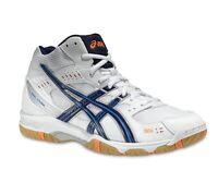 Mens Asics Gel Task MT B303N 0150 White Navy Sports Basketball Hi Top Shoes