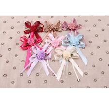 5-40pcs Big Satin Ribbon Flower Bows with Bead wedding Decoration Craft