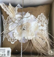 Burlap Lace Ring Bearer Pillow with fabric flowers and feathers / Rustic
