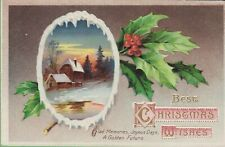 Vintage Antique Christmas Postcard Best Wishes International Art Series 1910