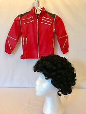 MICHAEL JACKSON OFFICIAL Childs Boys  Red Beat It Jacket WIG COSTUME  As S