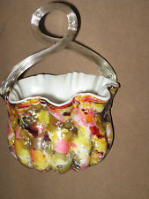 End of Day Cased Splatter Art Glass Basket