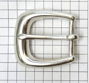 """Solid Brass Silver Colored Belt Buckle - New - Fits 1"""" Wide Belt"""