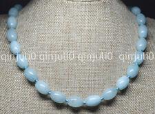 Genuine Natural 10x14mm Blue Rice Aquamarine Bead Gemstone Necklace 18'' JN767