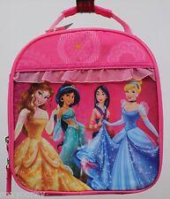 Disney Princess Belle Cinderella Jasmine Mulan Pink Girls Lunch Bag Box 8X8X4