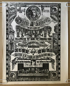 Original Vintage Poster Our Father Bindweed Religious Pinup Collage 1960's God
