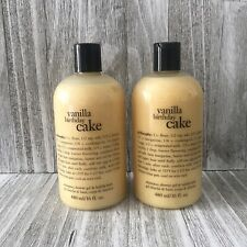 Philosophy Vanilla Birthday Cake Shampoo Shower Gel Bubble Bath Lot 2 X 16oz NEW
