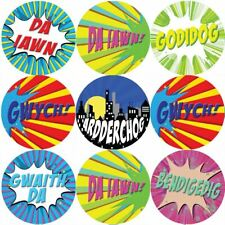 144 Superhero Comic Welsh Praise Words 30mm Reward Stickers for Teachers
