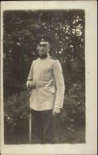 WWI German Soldier in Uniform w/ Word - Strehla Germany Cancel RPPC