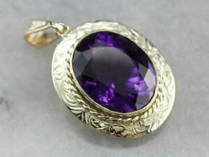 4.81 Ct Oval Large Amethyst Bezel Set Pendant Necklace Chain 14k Yellow Gold FN