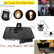 Black Rear License Plate Bracket Holder w/ Light For 2007-2018 Jeep Wrangler