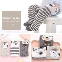 3 Pair Baby Boy Girl Cartoon Cotton Socks Infant Toddler Knee High Long Sock AS