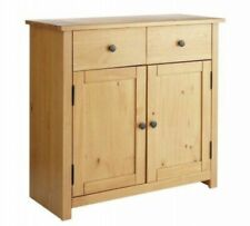 Home Porto 2 Door 2 Drawer Solid Wood Sideboard - Oak Effect Storage Unit New