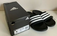NEW! ADIDAS BLACK ADILETTE CLOUDFOAM PLUS STRIPES COMFORT SLIDES SLIPPERS 8 40.5