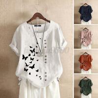ZANZEA Women's Butterfly Print Tee Shirt Summer Casual Loose Blouse Tops T-Shirt