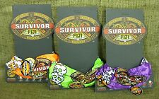 Original 2007 Survivor Fiji Buff Set of 3 (Green, Orange, Purple) on Logo Cards