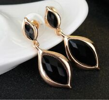 SMALL GOLD TONE FACETED BLACK  DROP ACRYLIC CRYSTALS EARRINGS