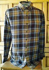 Saddlebred Long Sleeve Flannel Shirt Brown Gray Black & Gold Plaid  Size Large