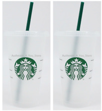 NEW SET OF 2 Starbucks Reusable Plastic 24oz Cold Cup Venti Size w/ Lid & Straw