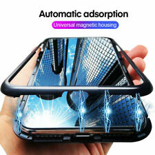 360° Magnetic Adsorption Metal Tempered Glass Back Case Cover For Smart Phone