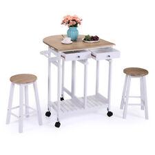Kitchen Island Rolling Trolley Cart Storage Dining Table Stools Set Oak Wood