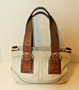 COACH White Leather Soho Double Buckle Purse Carryall Shoulder Bag