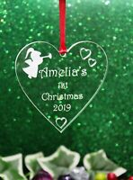Personalised Babies 1st Christmas Tree Heart Decoration Gift