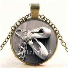 Vintage Ballet Dancer Shoes Cabochon Glass Bronze Chain Pendant Necklace