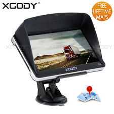 "XGODY 7"" 8GB CAR TRUCK HGV LGV GPS SAT NAV NAVIGATION + FREE WORLD MAPS UPDATES"