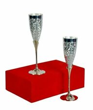 Pure Brass Silver Plated Wine Goblet Flute Whiskey Wine Champagne Glass Set of 2