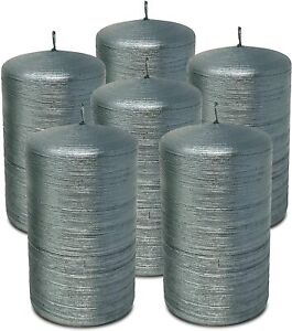 6 - Hyoola, Unscented Dripless Brushed Metallic Pillar Candles Color and Size Op