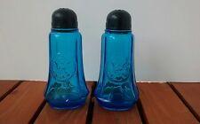 Vintage Large Clear Blue Glass Salt & Pepper Shakers United States Eagle Emblem
