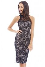 AX Paris Womens Midi Dress Black Lace Contrast Sleeveless Formal Cocktail Party 12