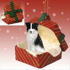 Border Collie Dog RED Gift Box Holiday Christmas ORNAMENT