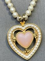 """Vintage Quality Gold Tone Faux White Pearl Large Heart  Pendant Necklace 18"""""""