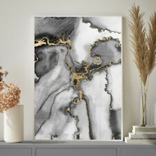 Grey and Gold Wall Art Watercolour Fine Art Painting Print Poster A4 A3 A2 A1