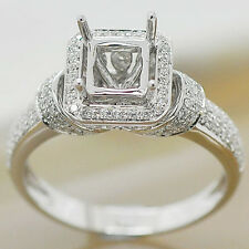 6x6mm Princess Cut Solid 14kt White Gold Natural Diamond Semi Mount Ring