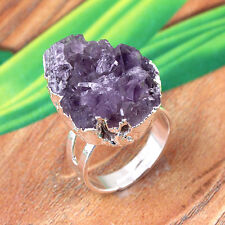 Natural Silver Amethyst Quartz Druzy Crystals Adjustable Reiki Stone Finger Ring