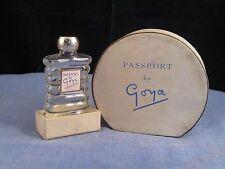 GOYA PASSPORT VINTAGE ART DECO MINIATURE GLASS PERFUME SCENT BOTTLE & IRIS BOX