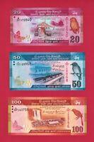 SRI-LANKA UNC NOTES 20 Rupees P-123c, & 50 Rps P-124c 2015 + 100 Rps 2016 P-125d