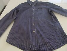 BEN SHERMAN - L/S SHIRT -CASUAL-PURPLE / BLACK CHECK -LARGE -SEE DESC FOR SIZING