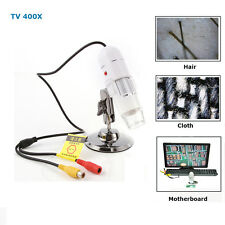25X-400X AV/TV Port Digital Microscope Endoscope Loupe Magnifier w/ 8-LED Light